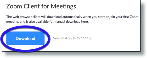 Click Download for Zoom Client for Meetings