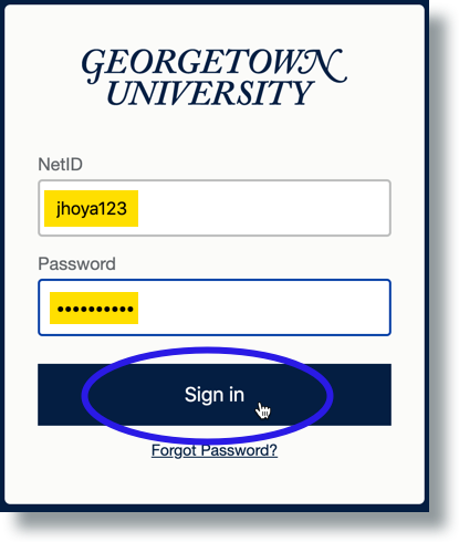 Enter NetID and password then click 'Sign in'