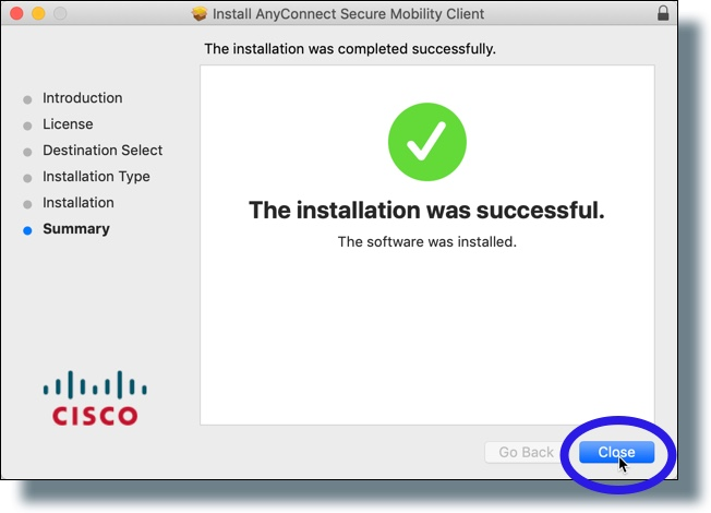 Click 'Close' in install confirmation window