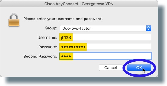 Enter your password and then 'push' for second password