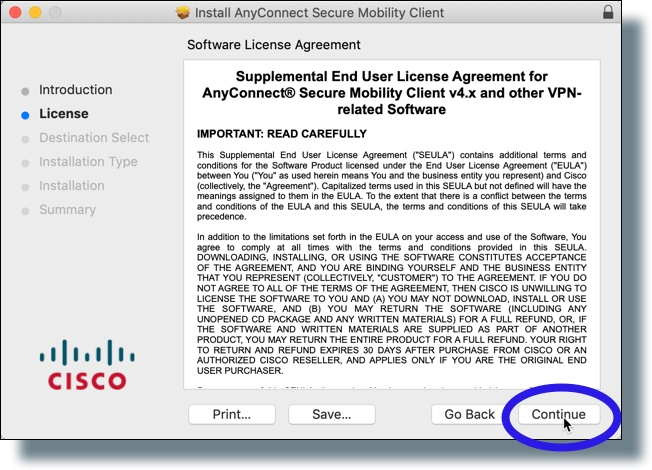 Click 'Continue' in software license agreement