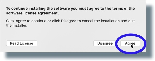 Click 'Agree' to accept the license agreement