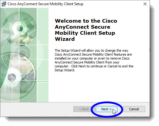 Click 'Next' in install welcome window