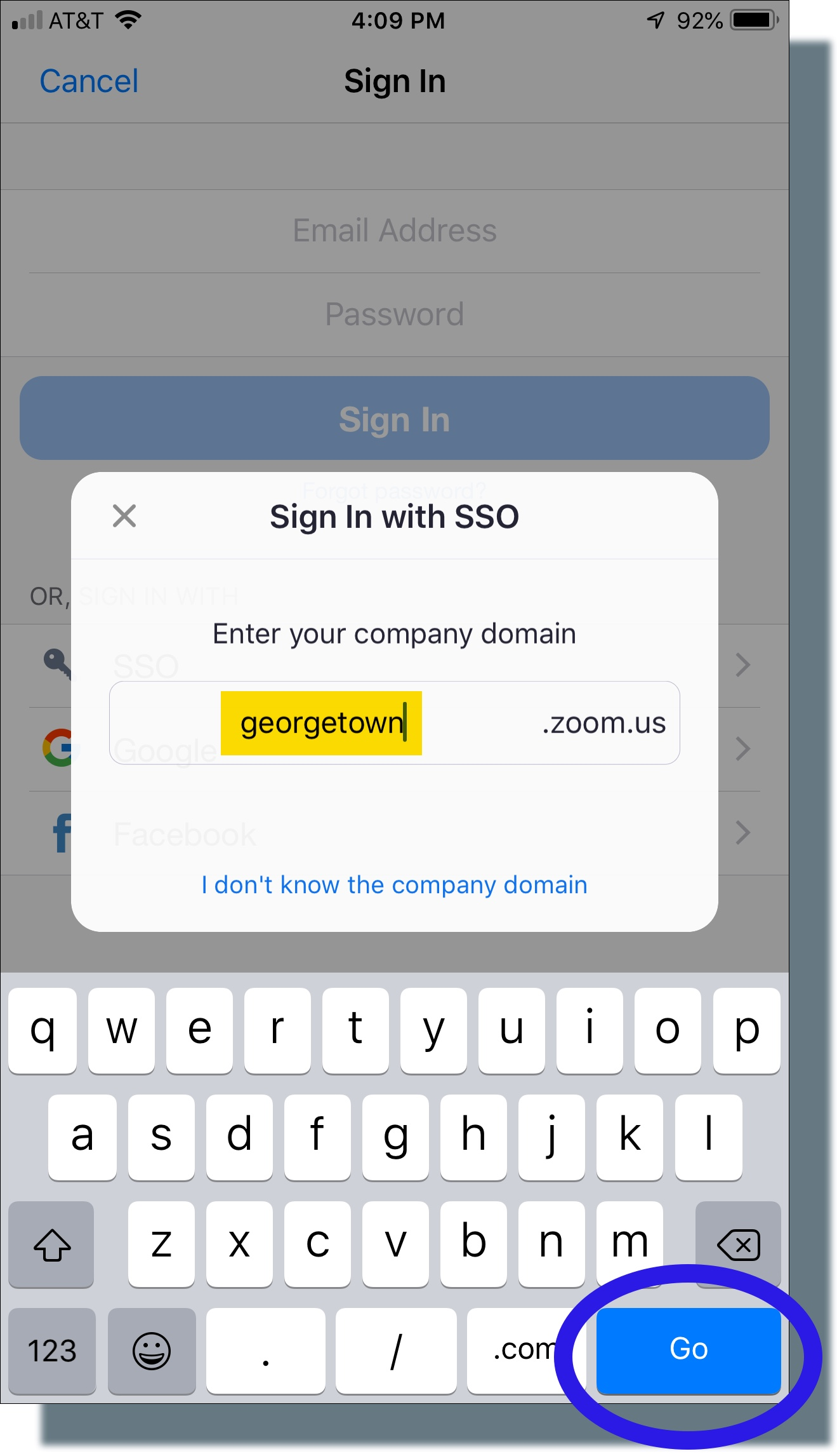 Make sure 'georgetown' is entered as company domain, then tap 'Go'