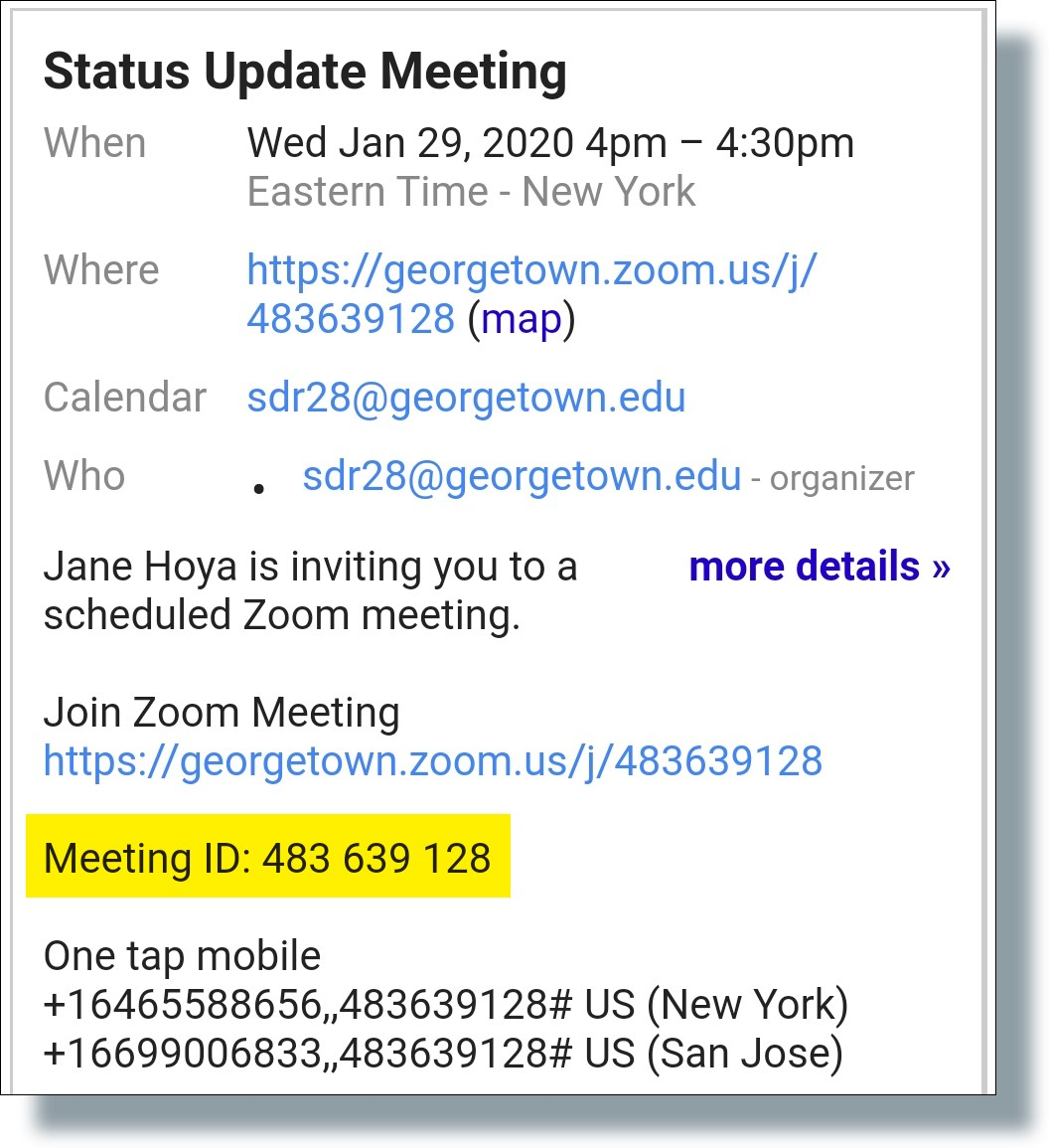 Zoom Meeting ID in invite email