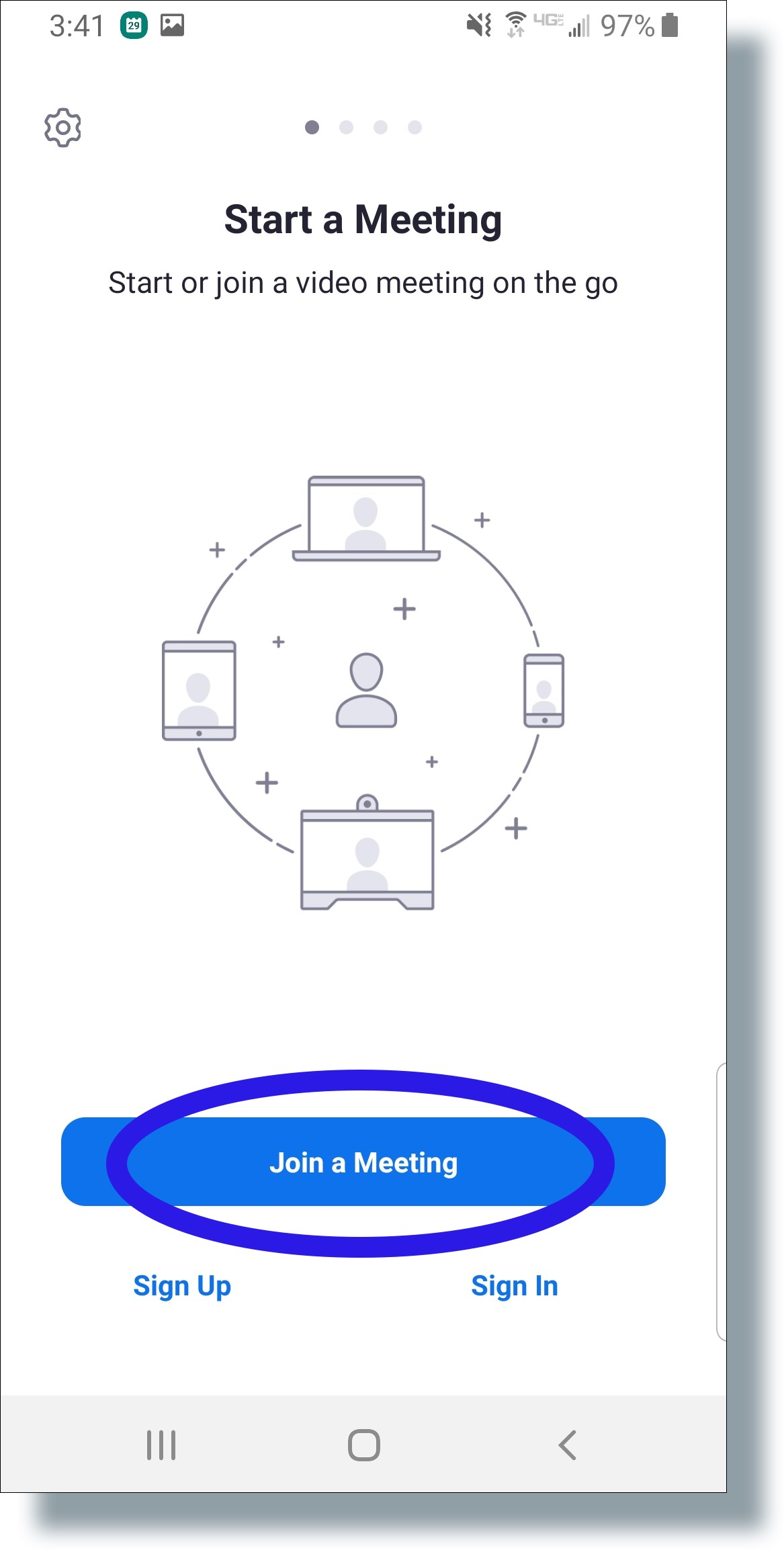 Tap 'Join a Meeting'