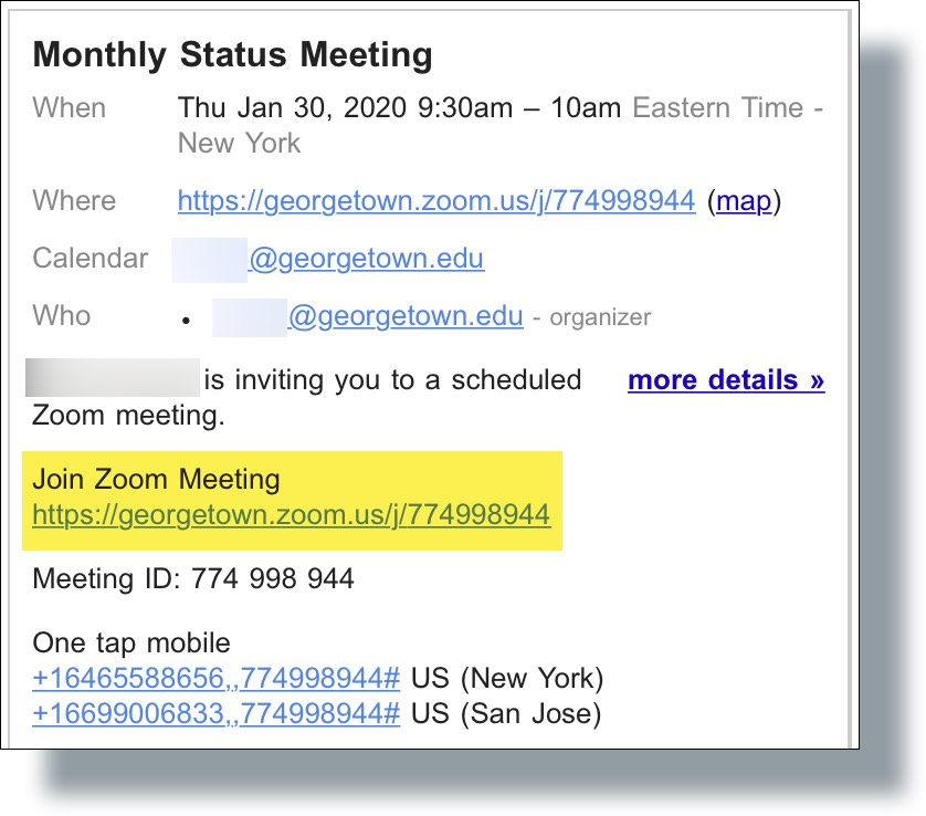 Zoom Meeting URL displayed in invite email