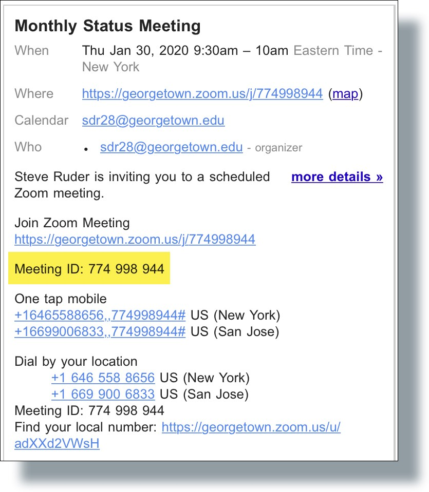 Zoom Meeting ID displayed in invite email