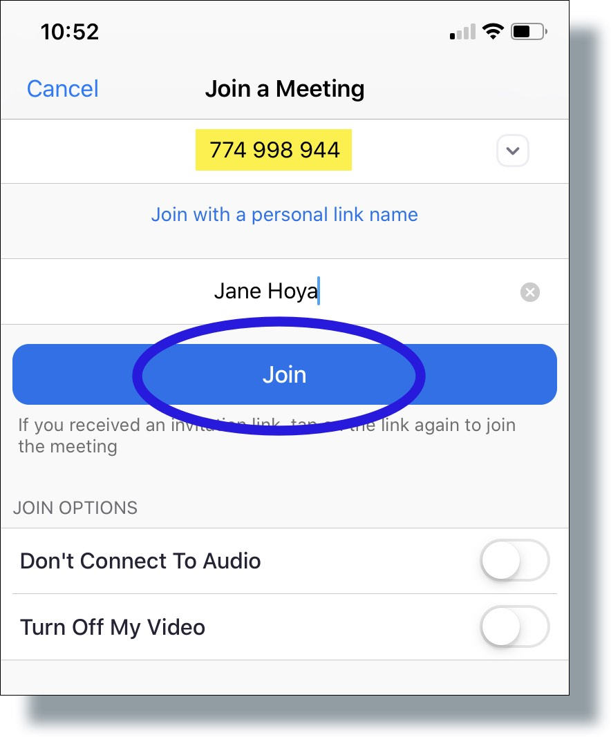 Enter the Meeting ID and then tap 'Join'