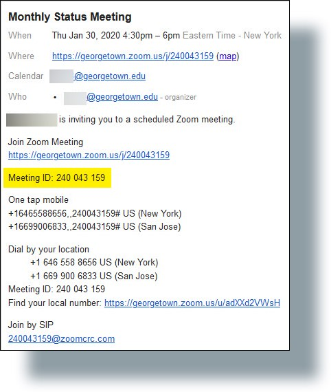 Zoom Meeting ID displayed on invite email