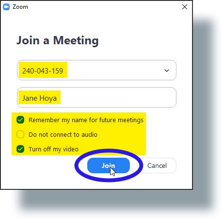 Enter Meeting ID, your name, and select or deselect options, then click 'Join'