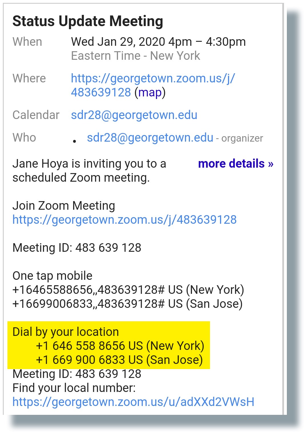 Zoom call-in numbers shown in invite email