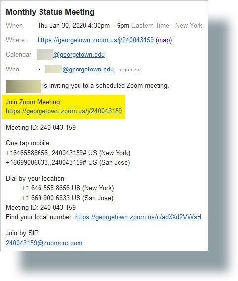 Zoom Meeting URL displayed in invite email