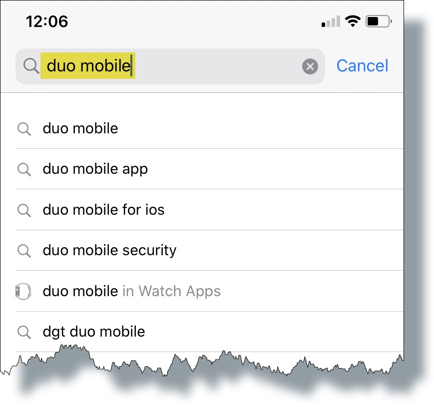 Enter 'duo mobile' in the search box and then select 'duo mobile' from the results