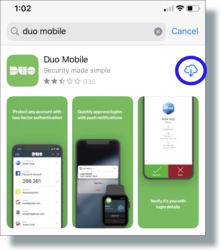 Tap download button to download Duo app