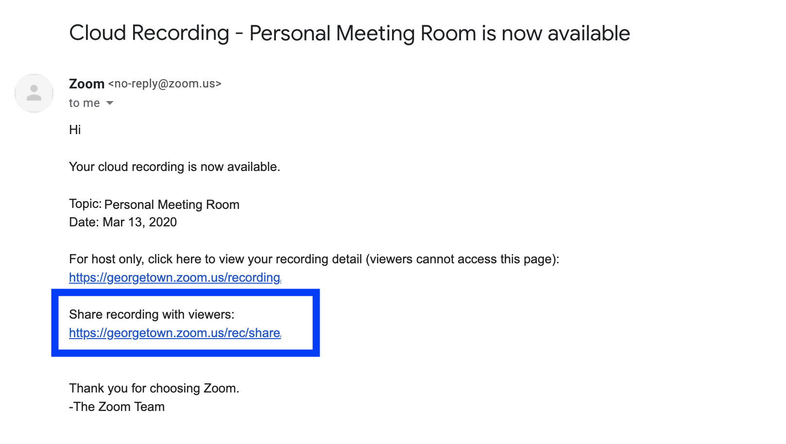 Zoom Cloud Recording email notification