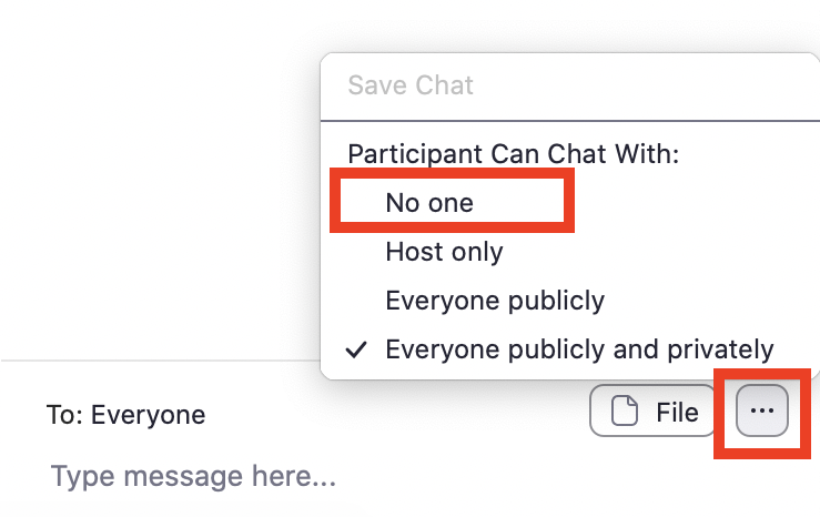 Chat menu No one can chat