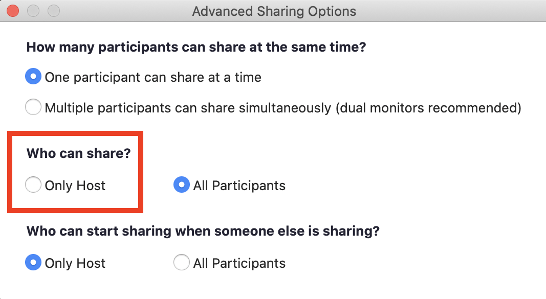 select only host can share