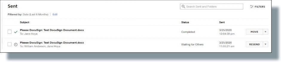 Recipient listing and document status