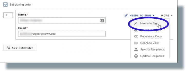 Adding recipient information