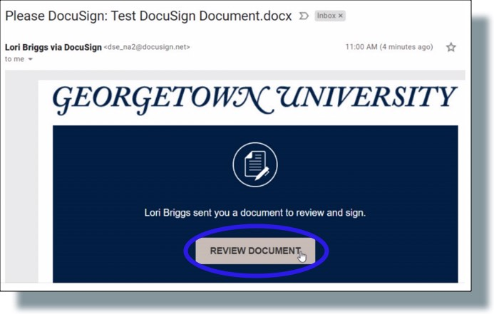 Docusign email request to sign document