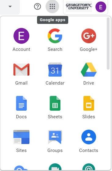 The Google Apps menu: Account, Search, Google+, Gmail, Calendar, Drive, Docs, Sheets, Slides, Sites, Groups, Contacts, etc.