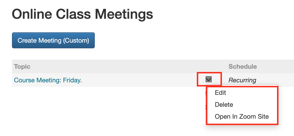 drop down box to edit meeting in Canvas