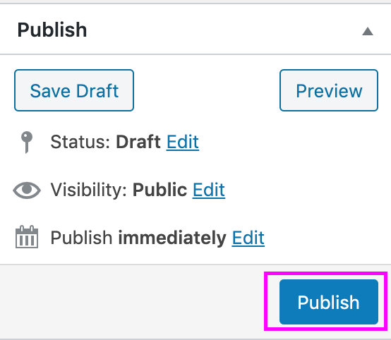 Publish event button