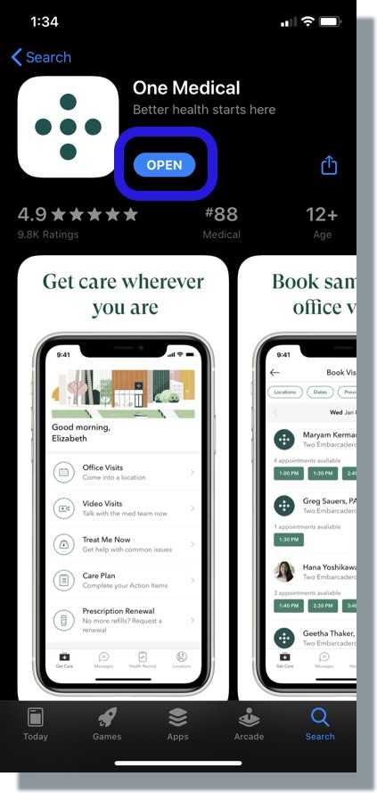 Tap 'Open' to open the One Medical app