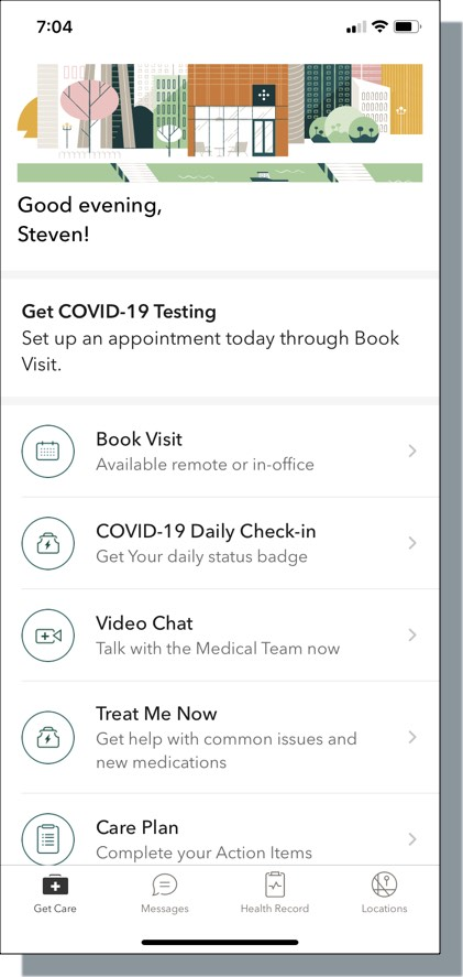 One Medical app main screen
