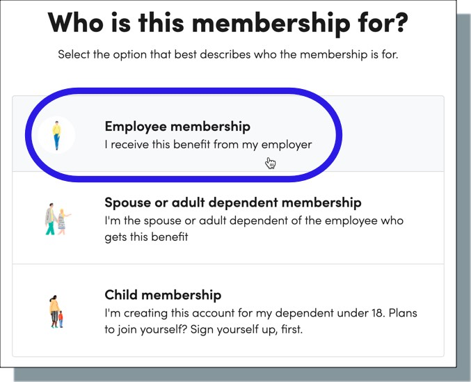 Select 'Employee Membership'