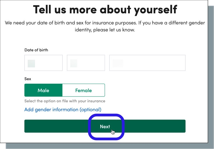 Enter your date of birth and sex, and then click 'Next'
