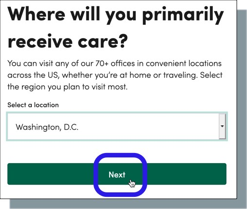 Select 'Washington DC' from drop-down and then click 'Next'