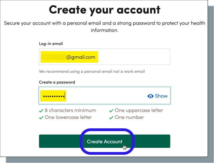 Enter a personal email address, create password, then click 'Create Account'