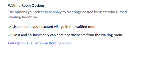 Confirm Waiting Room Changes