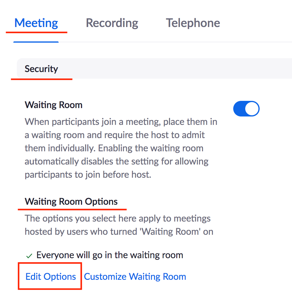 edit options for waiting room