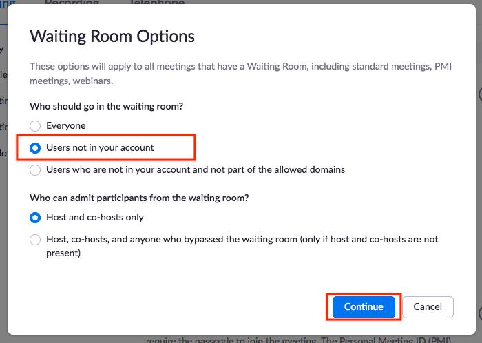 Waiting Room Options pop-up