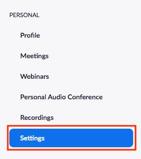 Zoom Meeting Settings