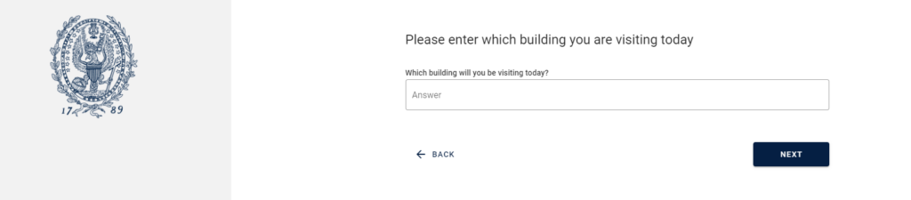 Screenshot of building entry question
