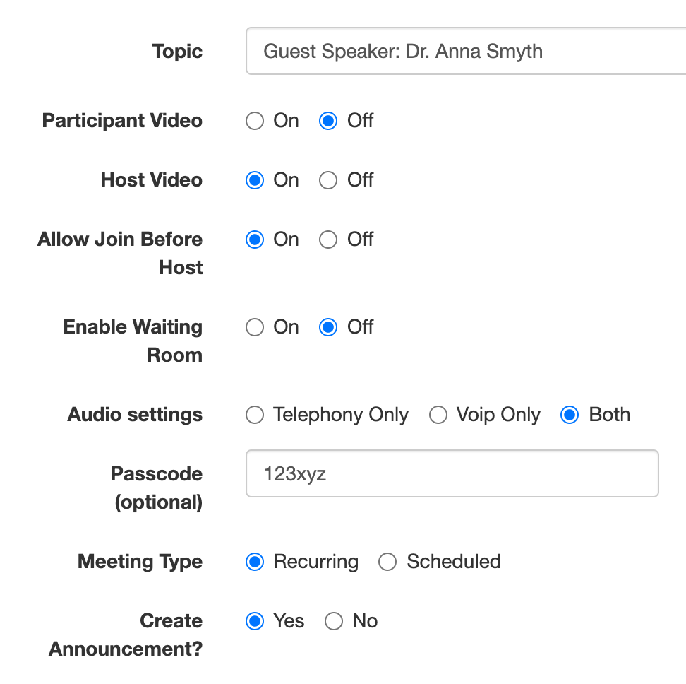zoom custom meeting options in Canvas