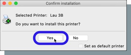 Click 'Yes' to confirm printer installation