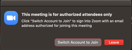 Not signed into Zoom using NetID