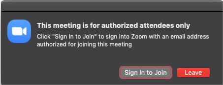 not signed into Zoom
