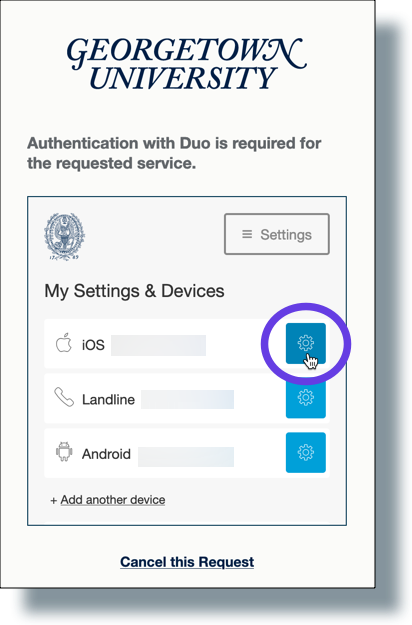 Click the Settings gear-shaped icon of the device you want to change
