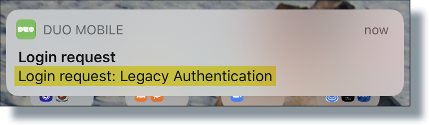 Duo login request for legacy app