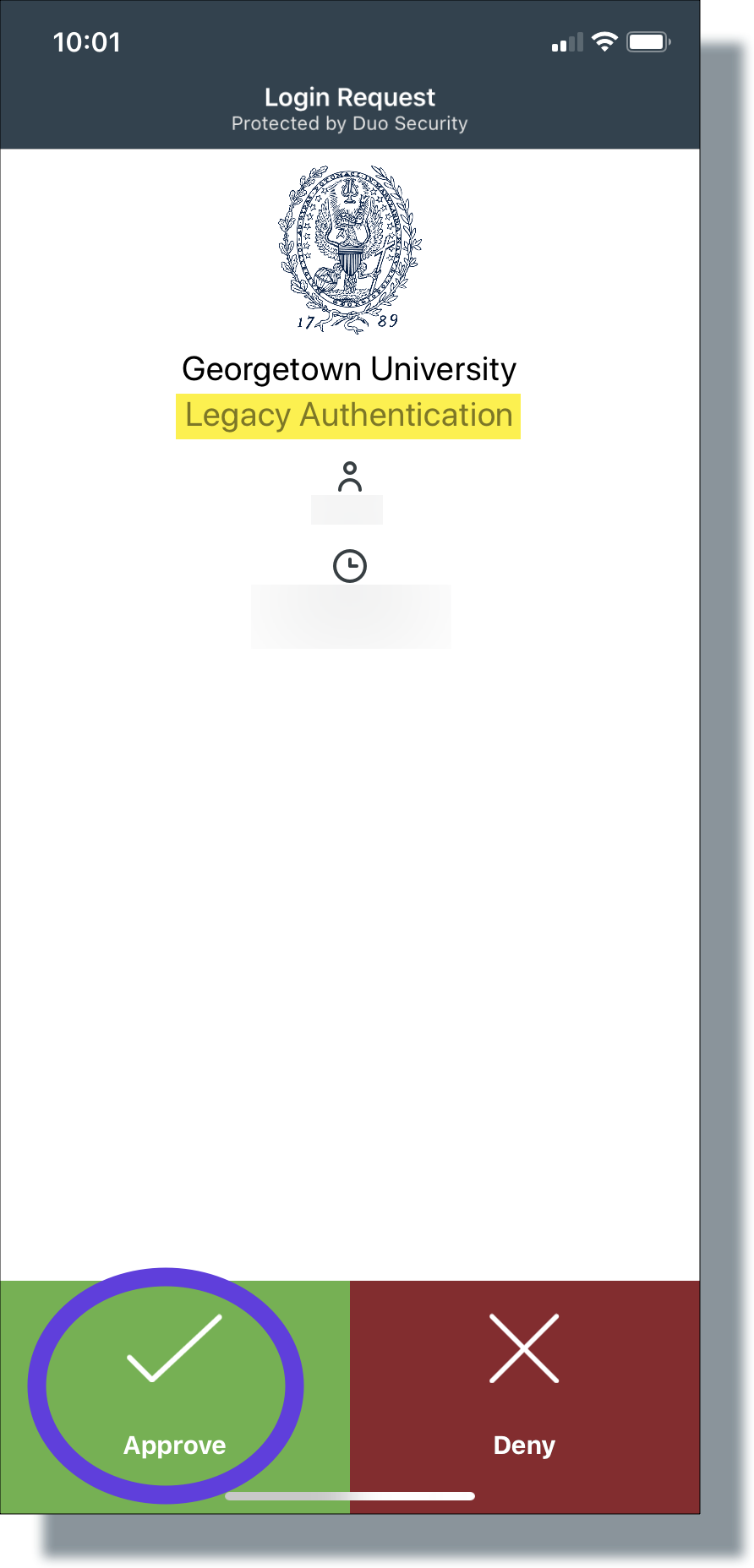 Tap 'Approve' on the Duo Mobile login request