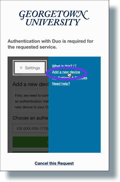 Select 'Add a new device' from Duo Settings menu