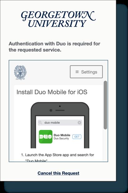 'Install Duo' screen