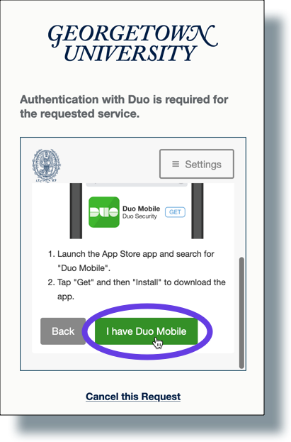 Click 'I have Duo Mobile'