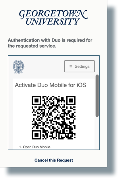 Duo QR code to be scanned